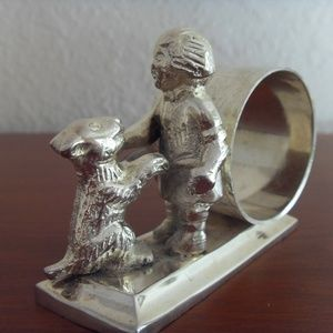 Other - Napkin Ring with Child & Dog